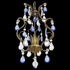 Vintage French Birdcage Chandelier with Blue Crystals