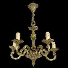 Solid Brass Vintage French Chandelier