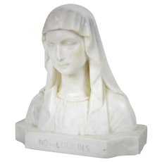Vintage French Marble Statue of Virgin Mary Notre-Dame de Lourdes Signed