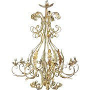 Huge French Wrought Iron Chandelier