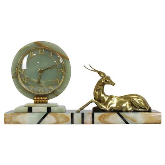 French Art Deco 1920's, 1930's Marble and Spelter Mantle Clock