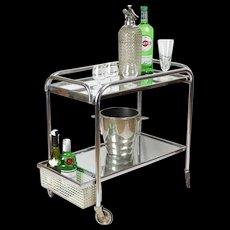 Chrome and Mirror Bar Cart