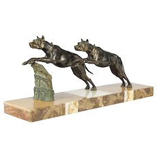 "French Art Deco ""Bronze"" Great Danes statue with Marble base"