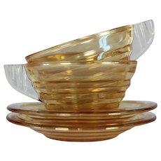 Art Deco Glass Coffee Cups Set of 8