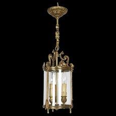 Vintage French glass and brass three bulb Vestibule Lantern