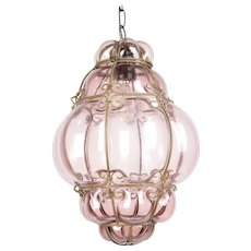 Purple blown glass and steel cage vintage ceiling light