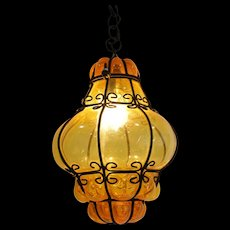 Orange blown glass vintage Italian glass and wire cage ceiling light