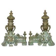 Large French Antique Brass Andirons