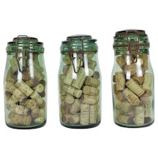 Collection of three Solidex pickling jars with wine corks
