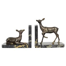 French Art Deco Spelter and Marble Deer Bookends