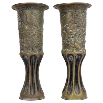 Pair of French Trench Art Vases