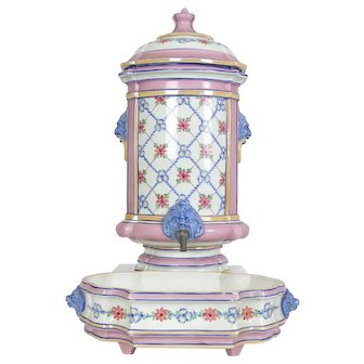 Hand Painted Antique French Lavabo or Water Fountain Made by Creil et Montereau Circa. 1850