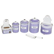 French Enamelled Kitchen Canister Set