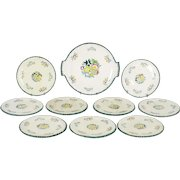 Antique French Dessert Plate Set from Longwy Vieux Rouen