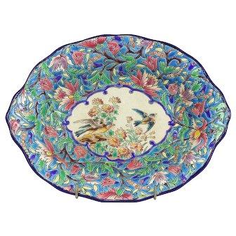 Longwy Enamel Hand Painted Bowl by Albert Kirchtetter