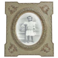 Antique Signed French Child Photograph Framed