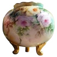 Amazing Hand Painted Round, Footed Vase