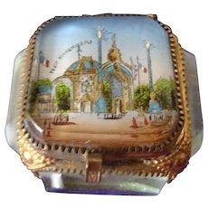 Antique French Eglomise Glass Trinket Box 1900