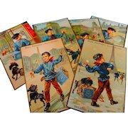 A Set of 6 Victorian French Paris Advertising Cards ' PETIT PARISIEN BISCUIT '