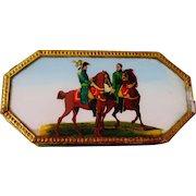 Rare Antique Napoleon On Horseback Eglomise Bon Bon Box C.1800's