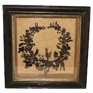 Victorian Mourning Hair Memento Picture Wreath Antique 1872