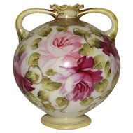Nippon Bud vase 2 handle Urn Maple Leaf Mark Roses Moriage Gold