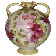 Nippon Bud vase 2 handle Urn Maple Leaf Mark Roses Moriage Gold