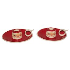Holt Howard 1960 Winking Santa Candle Holder Pair