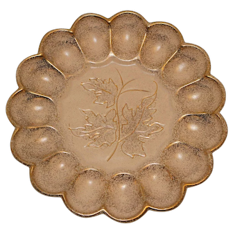 California Originals Egg or Oyster Serving Plate Leaf Pattern