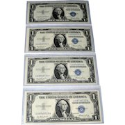 Four (4) Sequential Consecutive Silver Certificates 1935 Uncirculated (UNC)