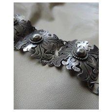 Silver Mexican Panel Bracelet