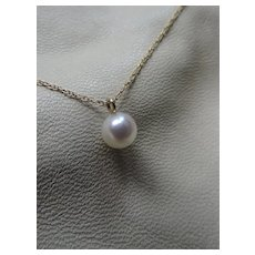 14k Gold Chain with White Authentic Cultured Pearl Pendant