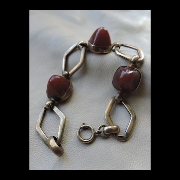 Vintage Brass chain Bracelet with Glass Cabochons