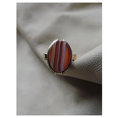 Antique 10k Gold Striped Agate Ring