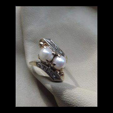 Mid-Century Cultured Pearl 10k Gold Ring