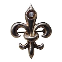 Antique Fleur De Lis 10k Gold Watch Pin