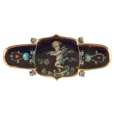 Victorian 9K Gold Enamel Rose Cut Diamond Brooch