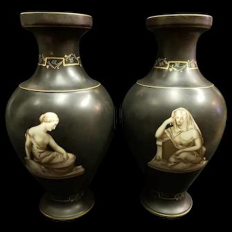 Pair Large Antique Neoclassical Old Paris Mantle Vases Monochrome Female Nudes