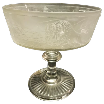 EAPG 19th Century Westward Ho Pattern Glass Frosted Compote no lid