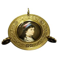 Victorian Renaissance Revival Hand Painted Portrait Dish w Dragon Handles in Brass