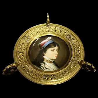 Victorian Renaissance Revival Hand Painted Portrait Dish w Dragon Handles in Brass