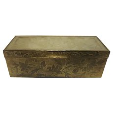 Vintage Chinese Gilded Brass & Carved Jade Desk Stamp Box