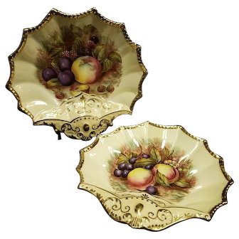 Pair Aynsley Hand Painted Shell Form Fruit Decorated Sweetmeats Dishes