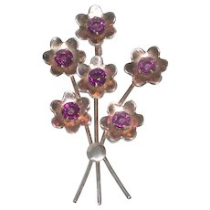 Gold Washed Sterling Silver Pin with Purple Facet Stones