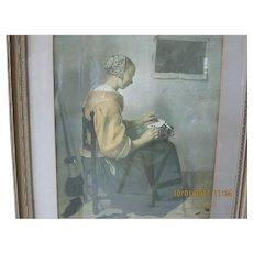 Framed London Print: Lace Maker