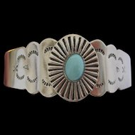 Silver tone Metal Bracelet with Turquoise Stone