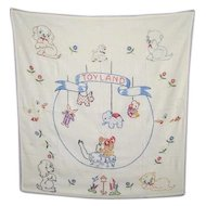 Mid 1950's Handmade/Embroidered  Crib Coverlet