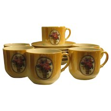 Demitasse Set of 6 Cups and Saucers