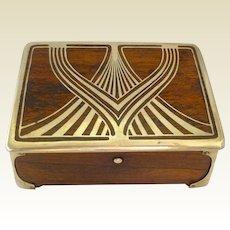 Secessionist Art Nouveau Silver & Walnut Intarsia Jewellery Box: Erhard & Söhne