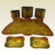 Japanese Art Nouveau Tray and Pot Ensemble with Butterflies